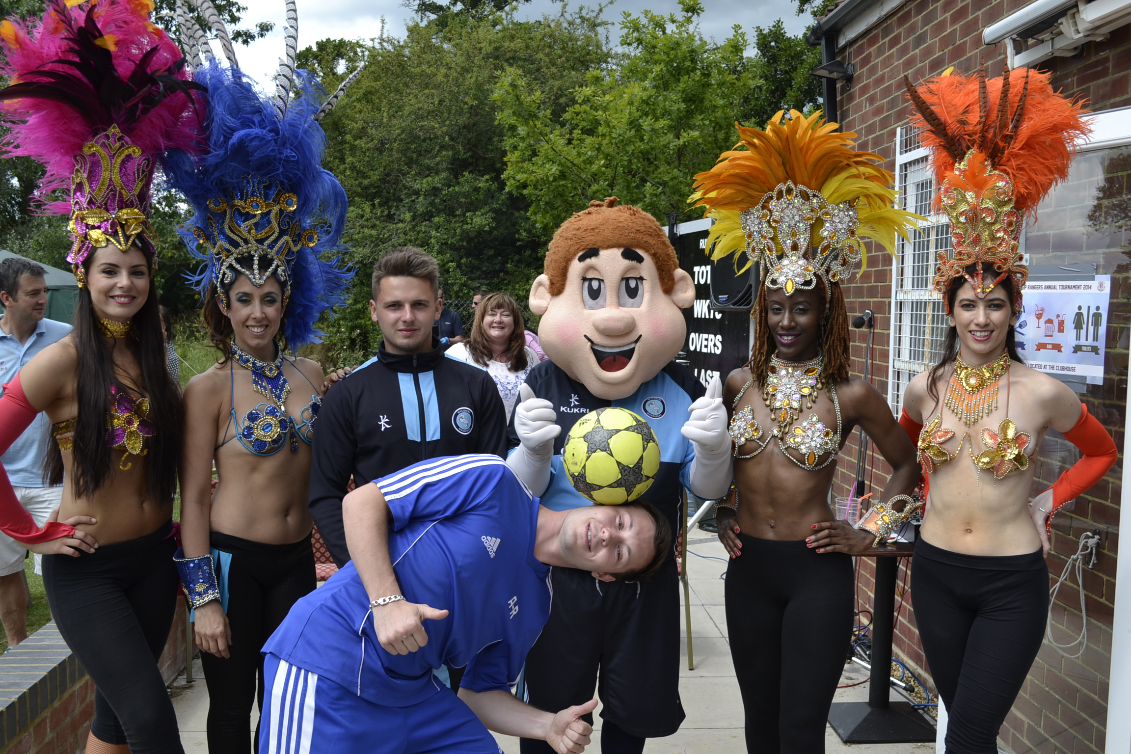 Freestyler Ash Randall, Bodger the Wycombe mascot and Brazilian dancers at our tournament in June 2014